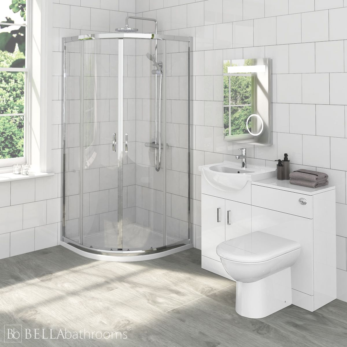 Saturn Bathroom Furniture Pack with Ella Quadrant Shower Enclosure