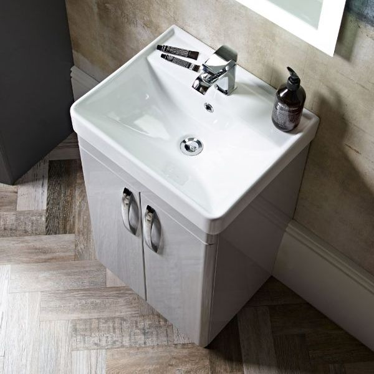 Tavistock Compass Gloss Clay Freestanding Vanity Unit 500mm Basin