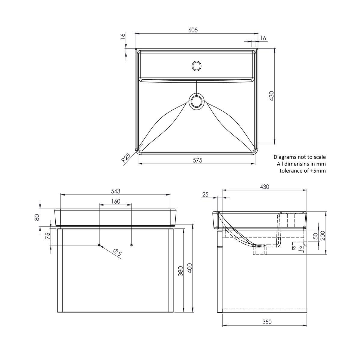 Tavistock Compass Gloss White Wall Mounted Vanity Unit 600mm Dimensions