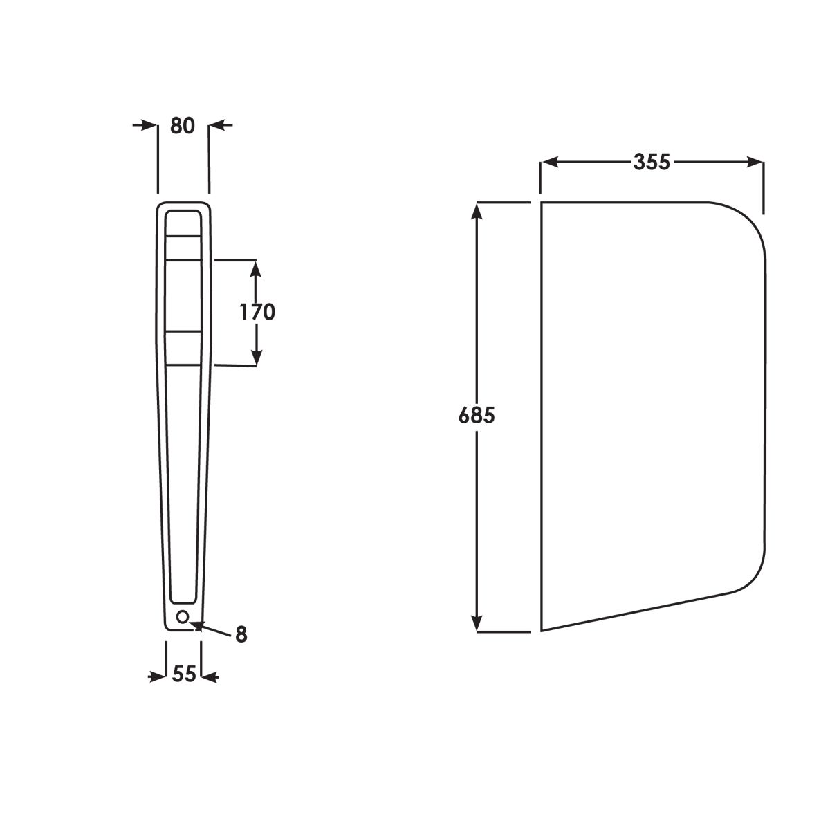 RAK Deluxe Gloss White Urinal Partition Panel Measurements
