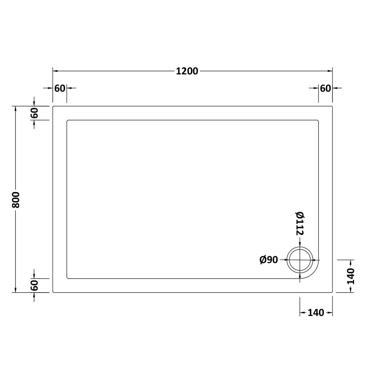 1200 x 800 Shower Tray Rectangular Low Profile by Pearlstone Dimensions