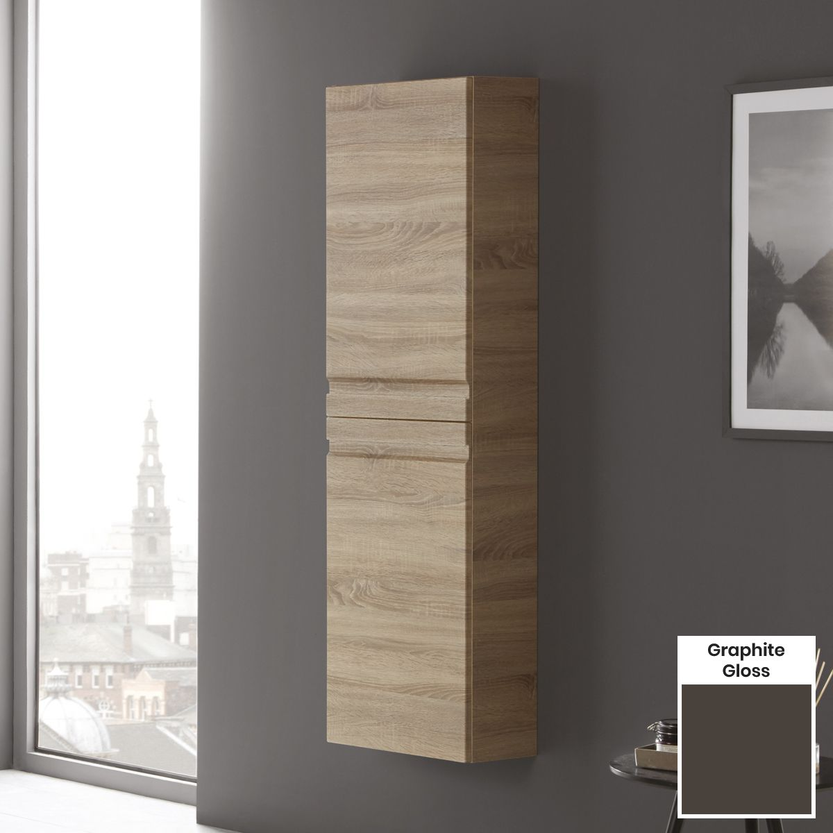Elation Eko Graphite Gloss Tall Unit with Slab Door 1500mm