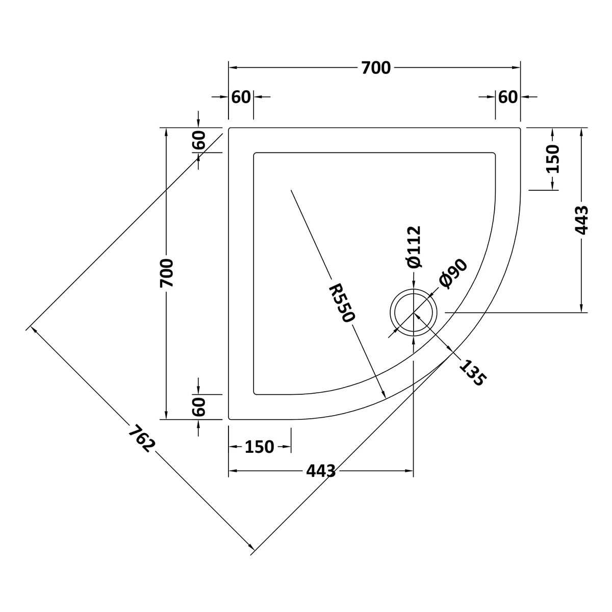700 x 700 Shower Tray Quadrant Low Profile by Pearlstone Line Drawing