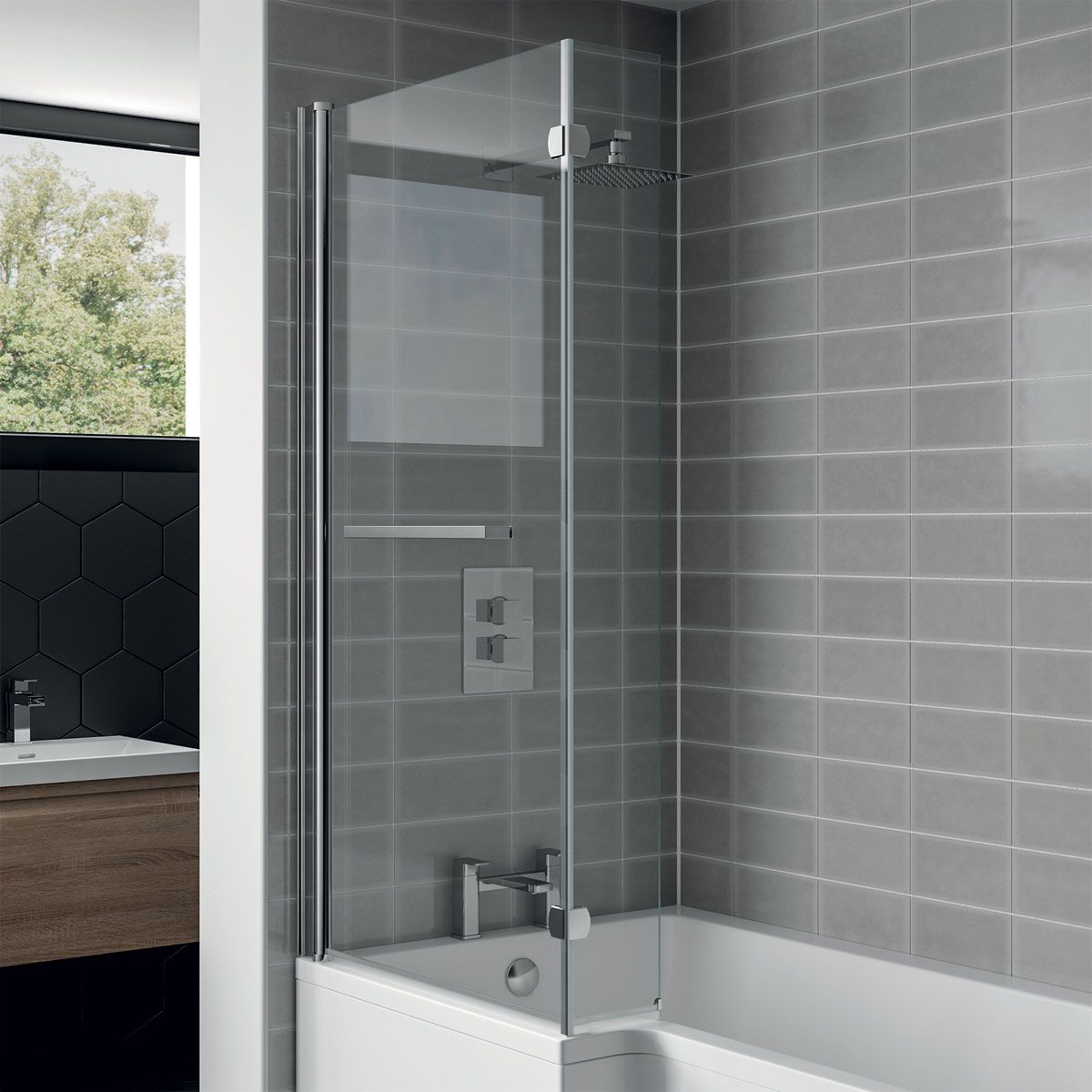 April L Shaped Bath Screen Left Hand