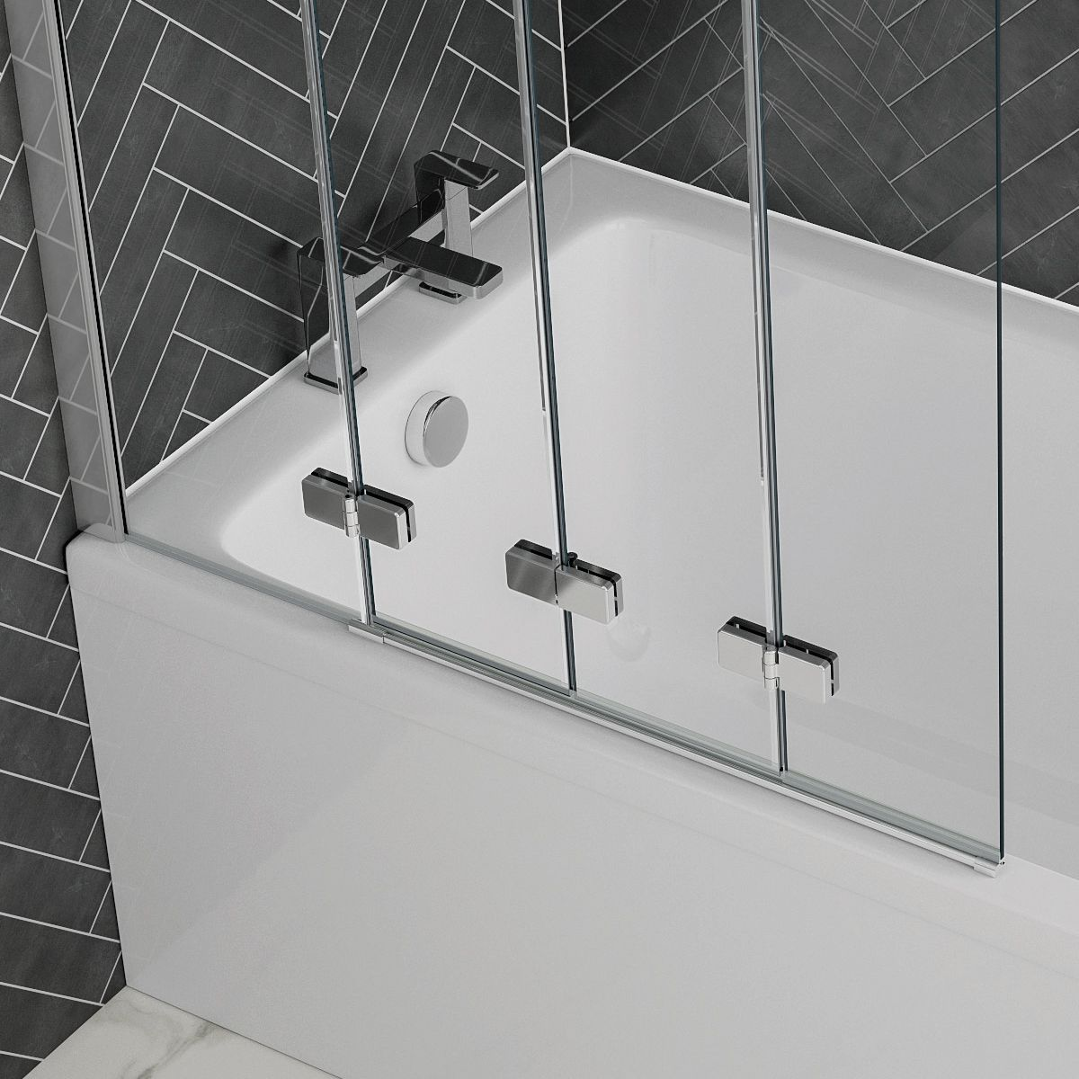 April Prestige Frameless 4 Fold Bath Screen Hinges