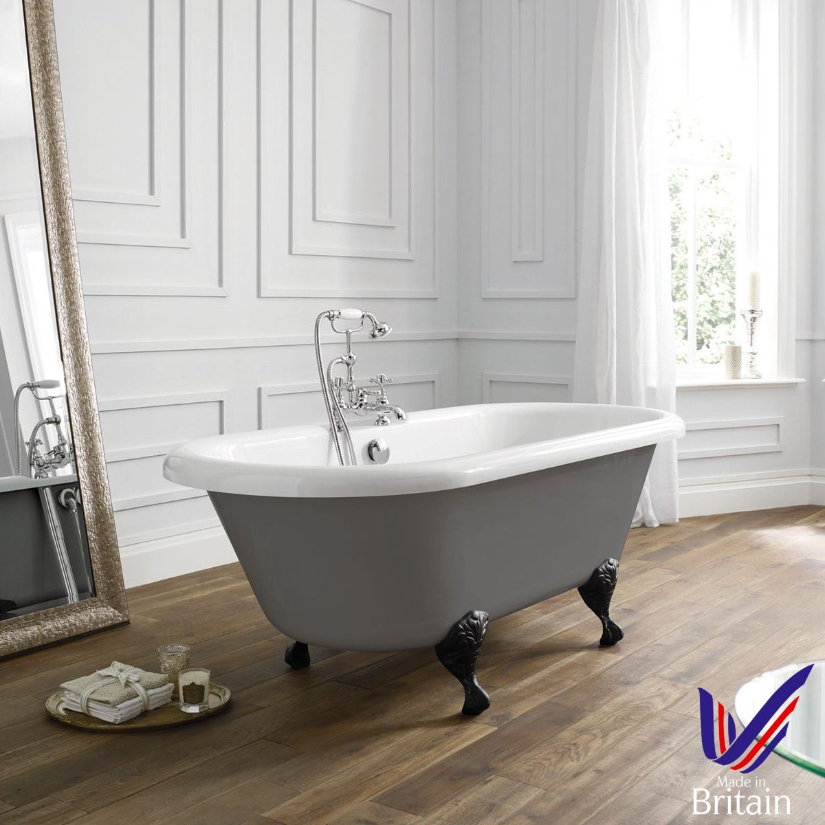 April Skipton Dove Grey Double Ended Freestanding Bath