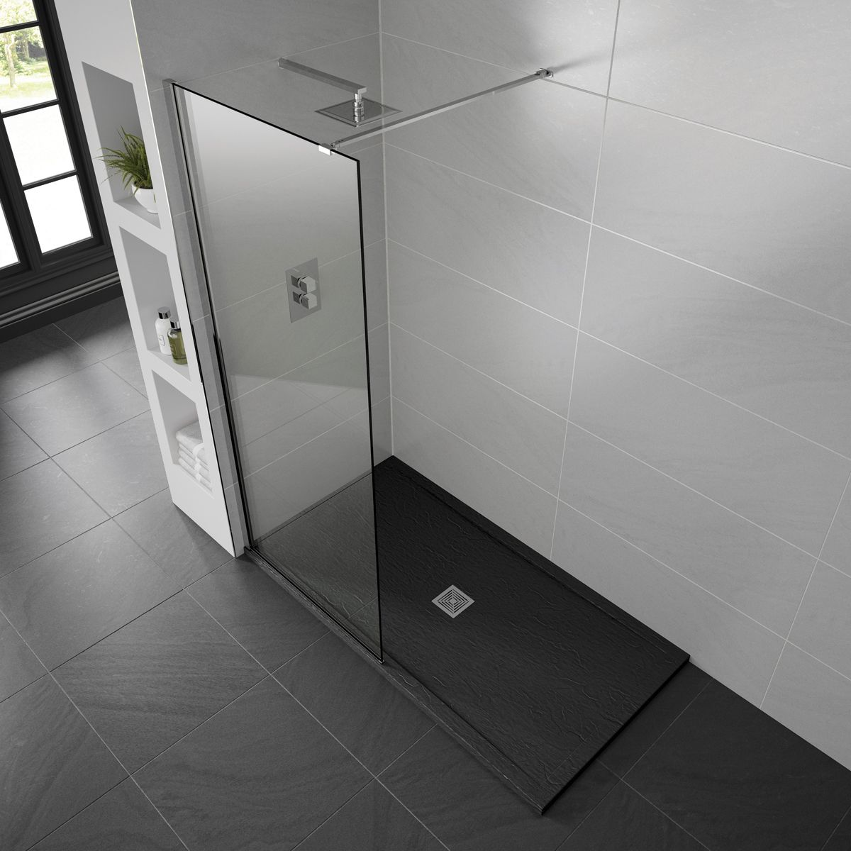 Aquadart Black Slate Shower Tray 1600 x 900 Lifestyle