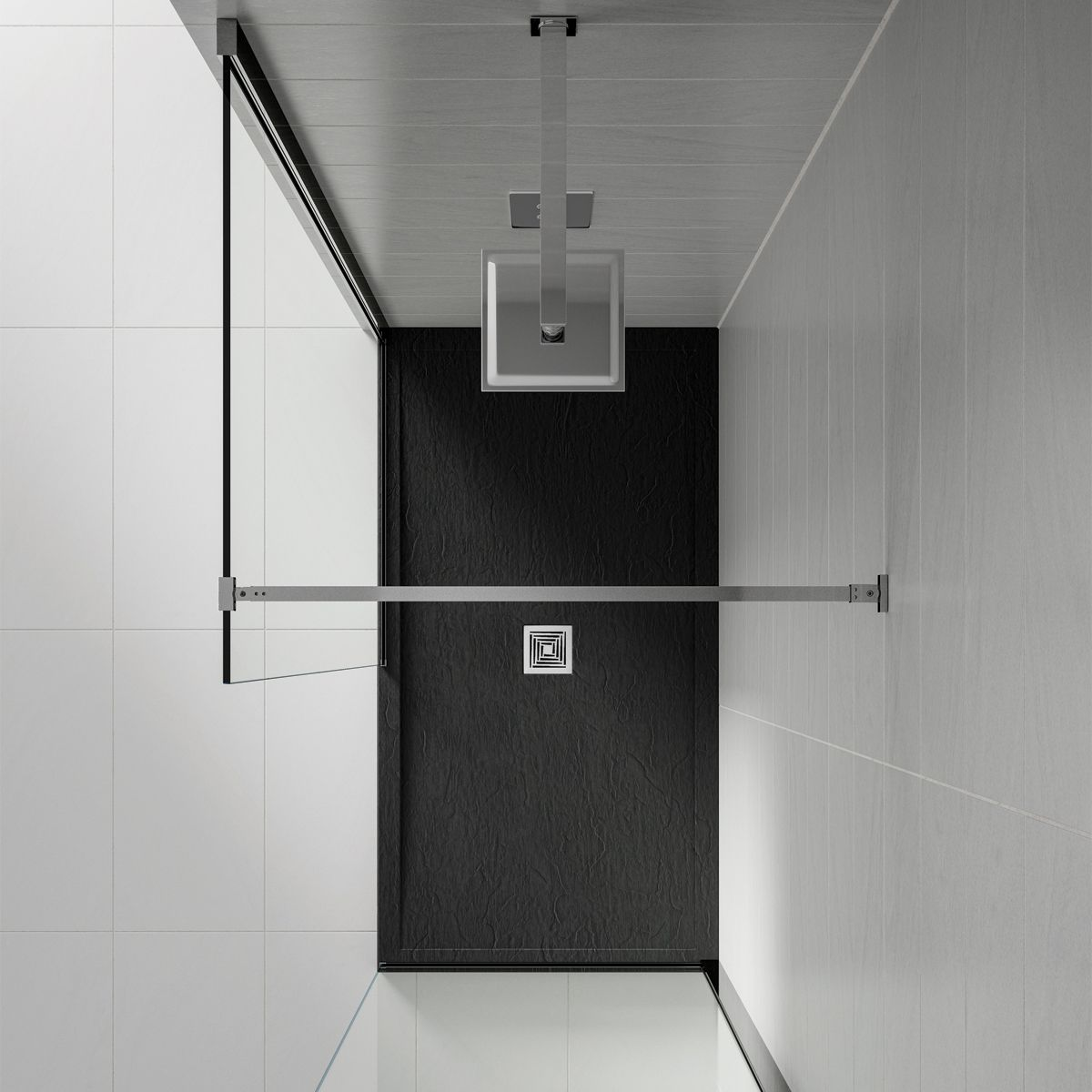 Aquadart Black Slate Shower Tray 1000 x 900 Overhead