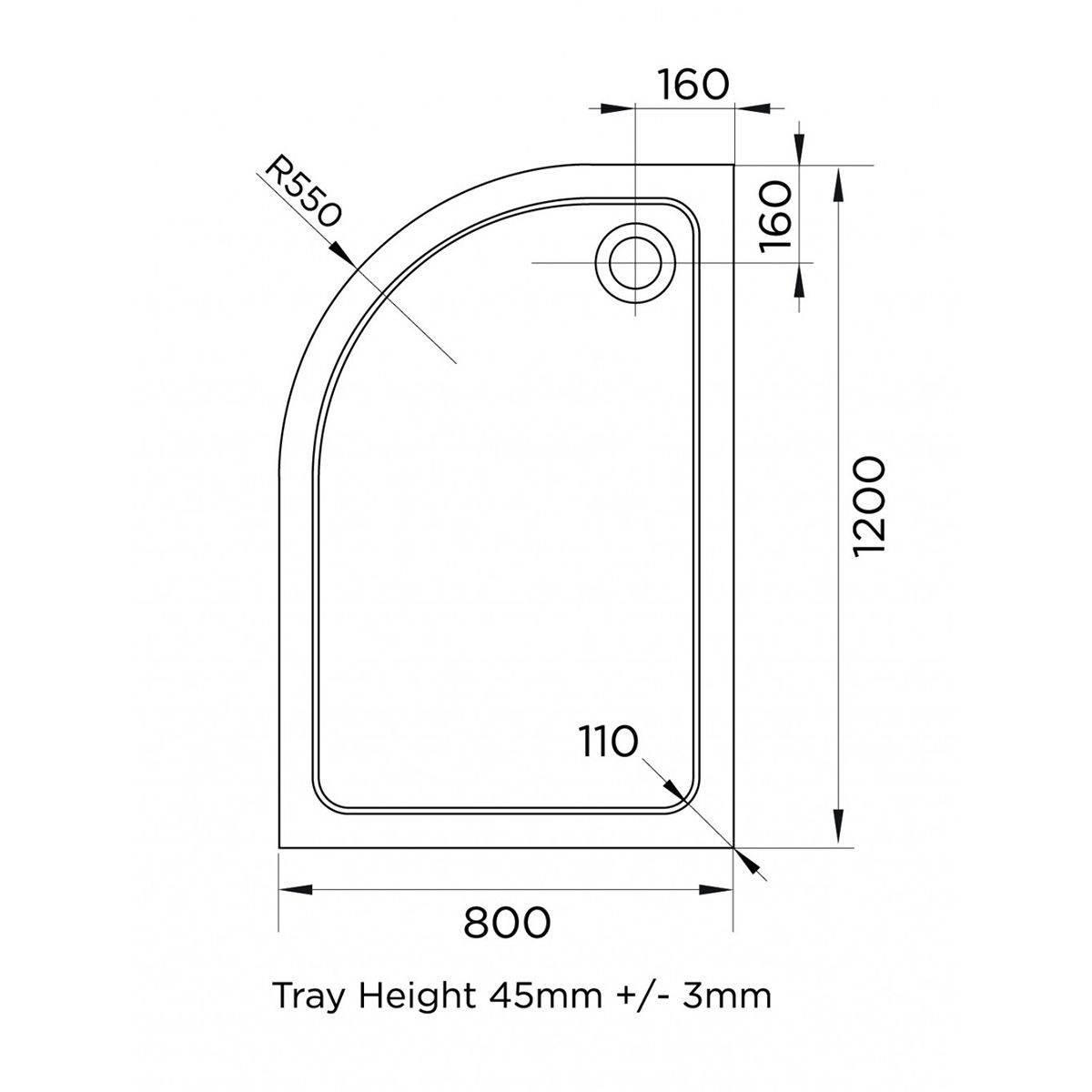 Aquadart Offset Quadrant 1200 x 800 Shower Tray Left Handed Line Drawing