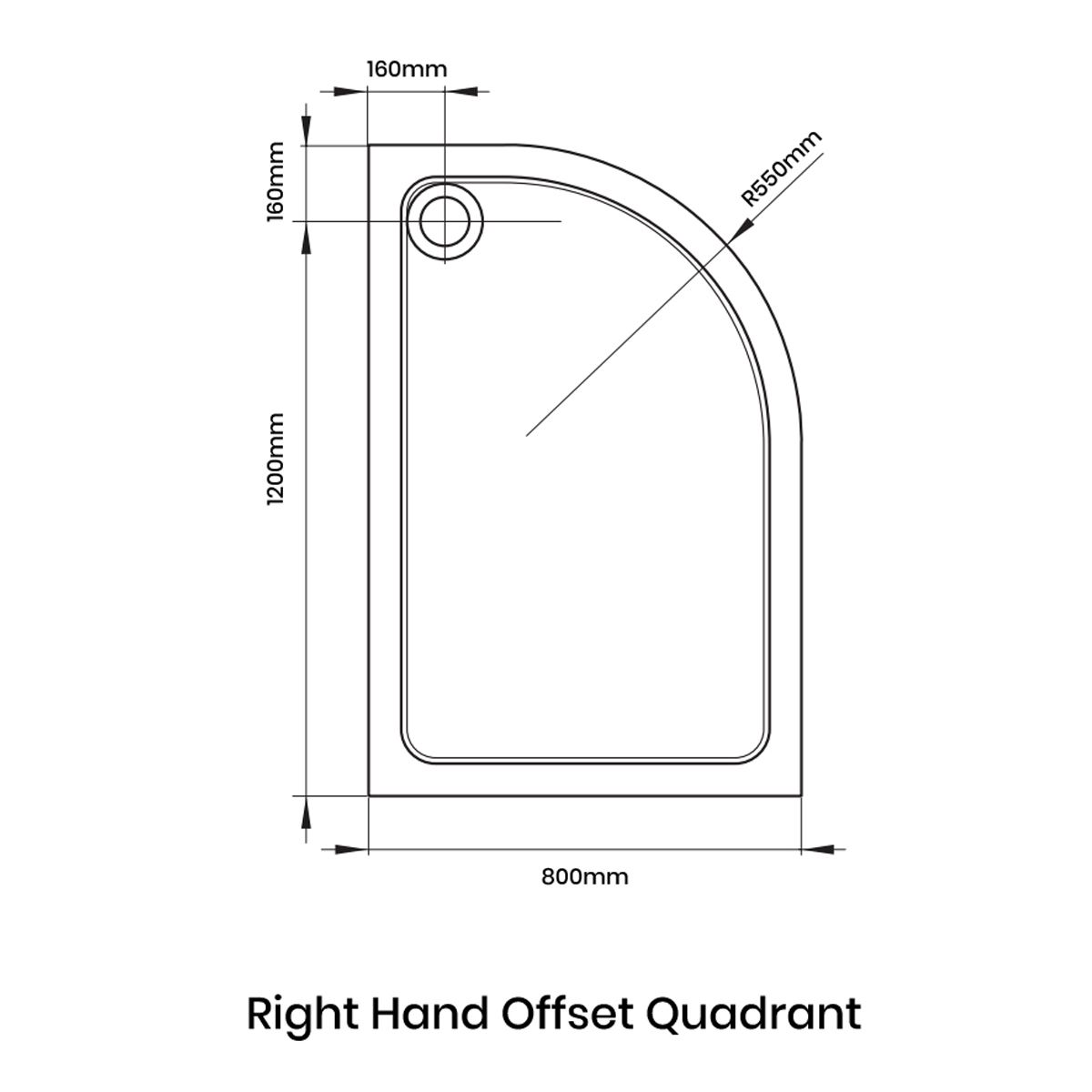 Aquadart Offset Quadrant 1200 x 800 Shower Tray Right Handed Line Drawing