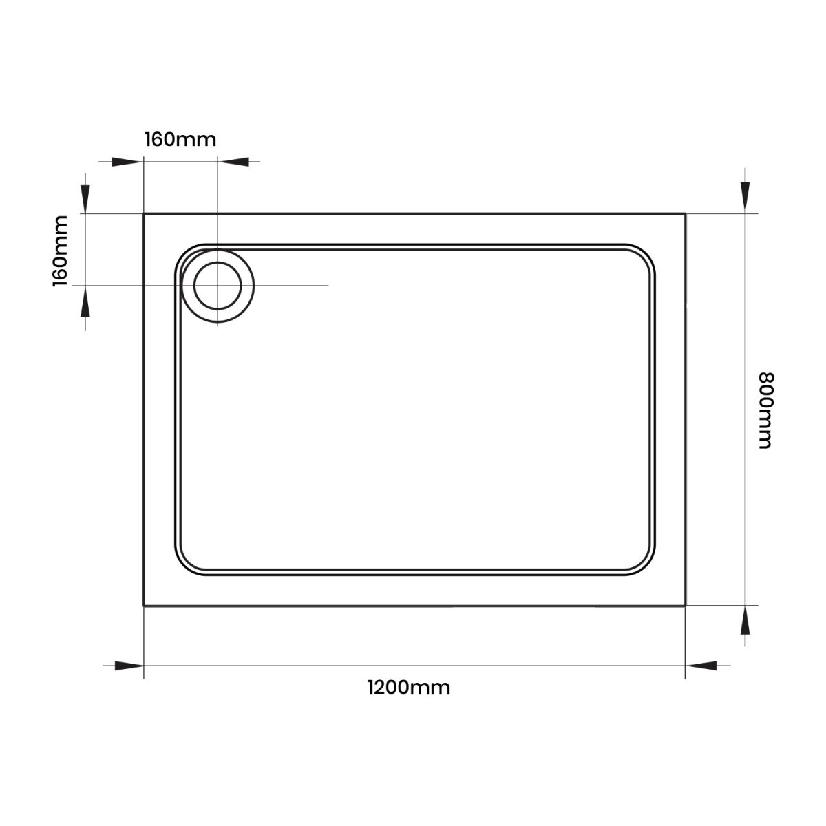 Aquadart Rectangular 1200 x 800 Shower Tray Line Drawing