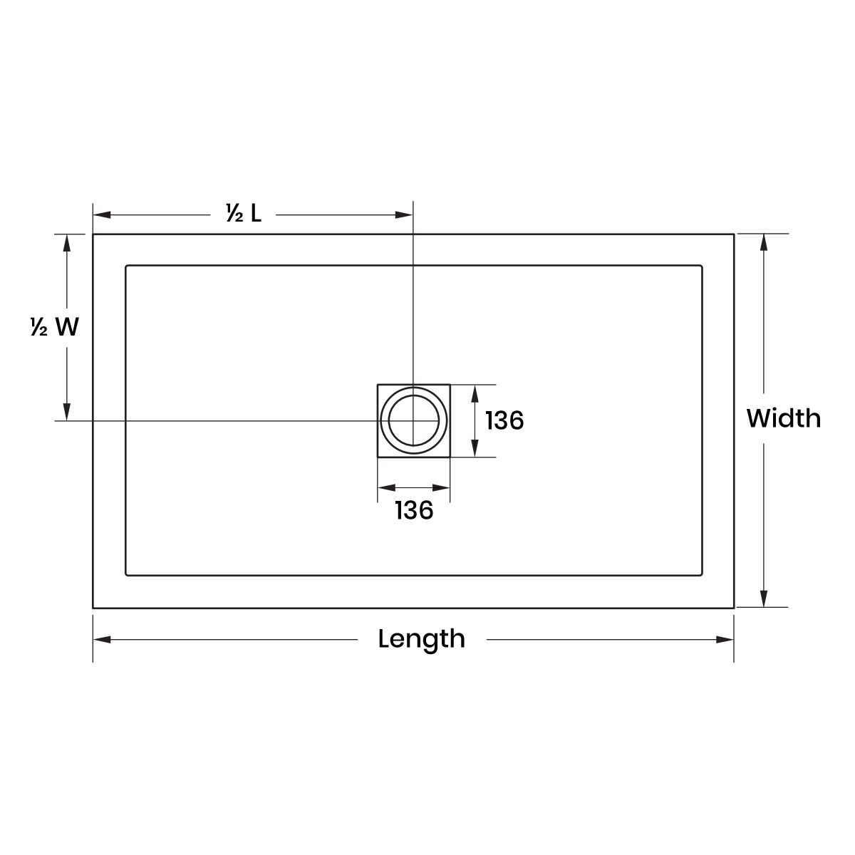 Aquadart White Slate Shower Tray 1500 x 760 Dimension