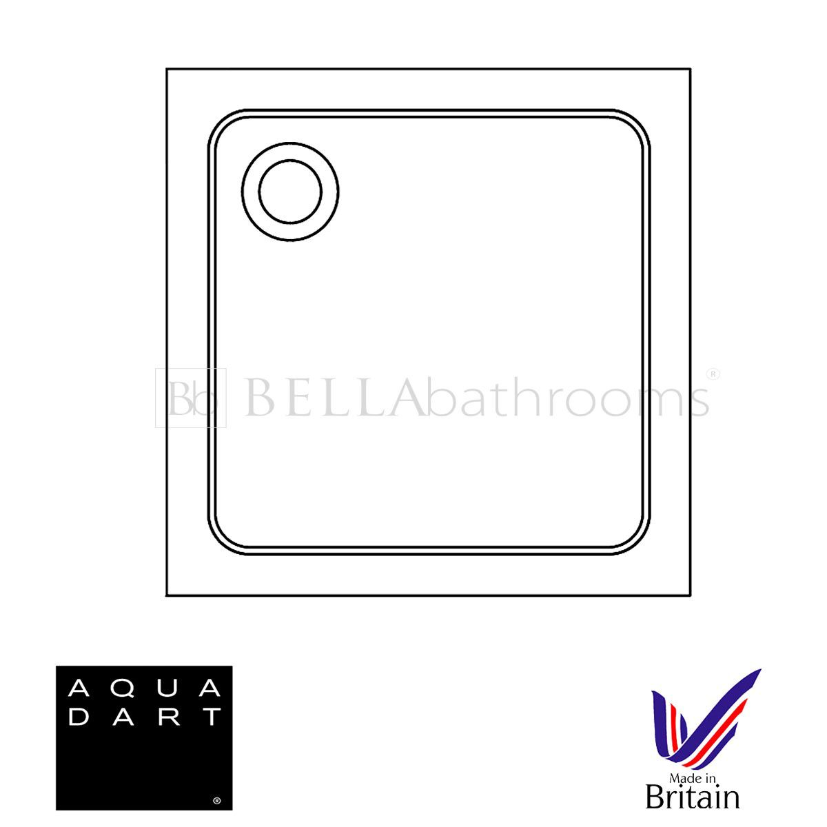 Aquadart Square 760 x 760 Shower Tray