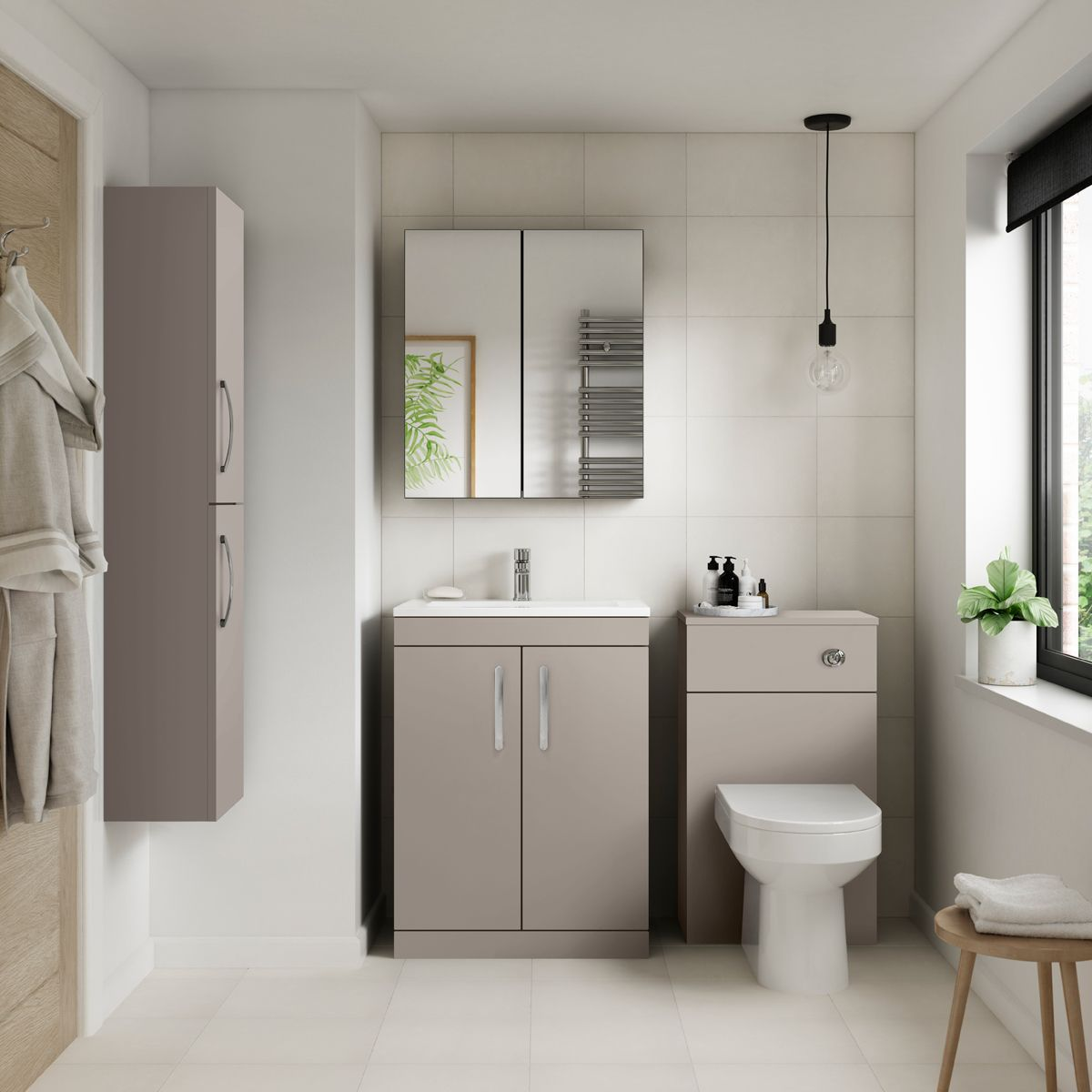 Premier Athena Stone Grey Double Door Tall Unit 300mm Lifestyle