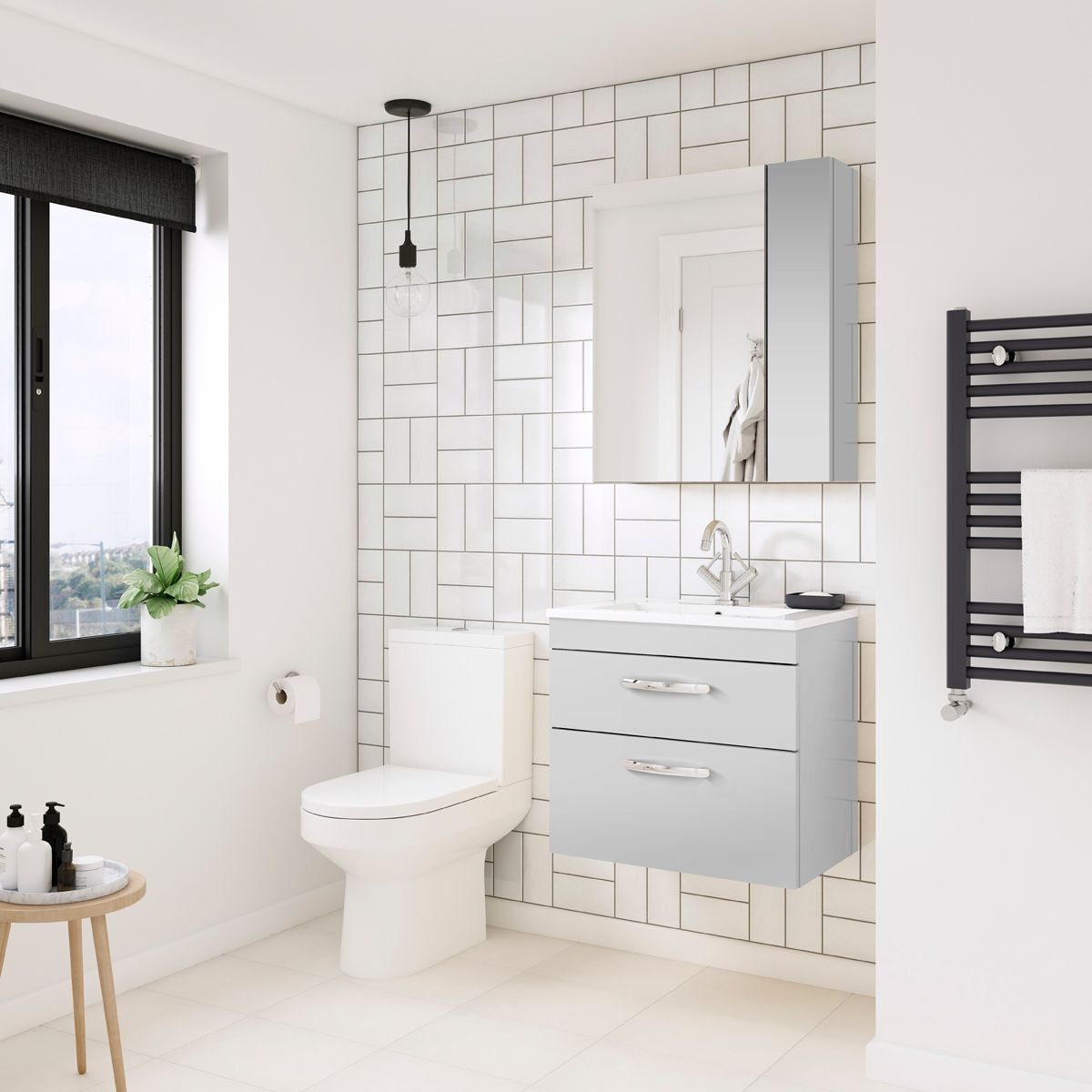 Nuie Athena Gloss Grey Mist Double Mirrored Bathroom Cabinet 600mm Lifestyle