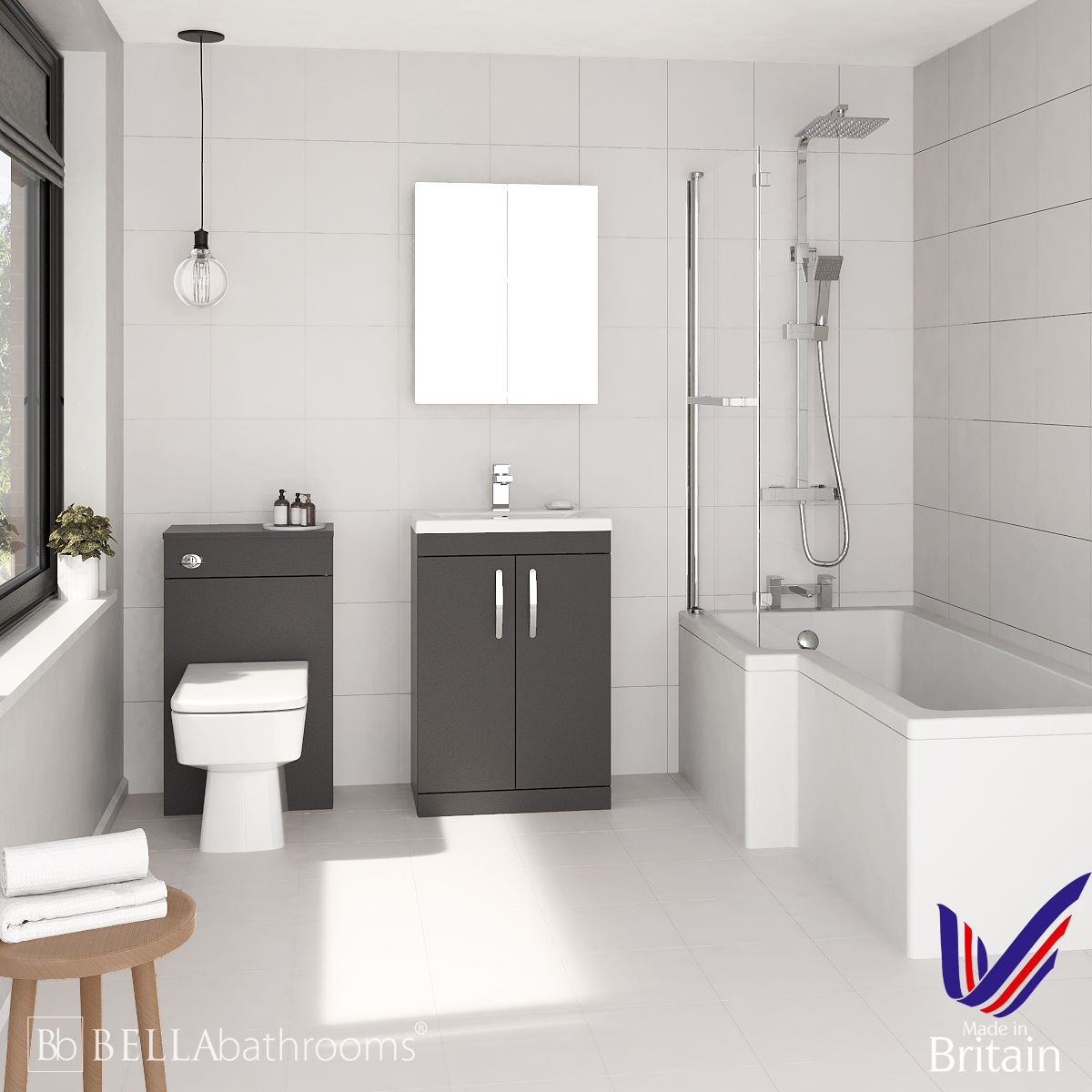Athena Gloss Grey 600 L-Shaped Left Handed Shower Bath Suite