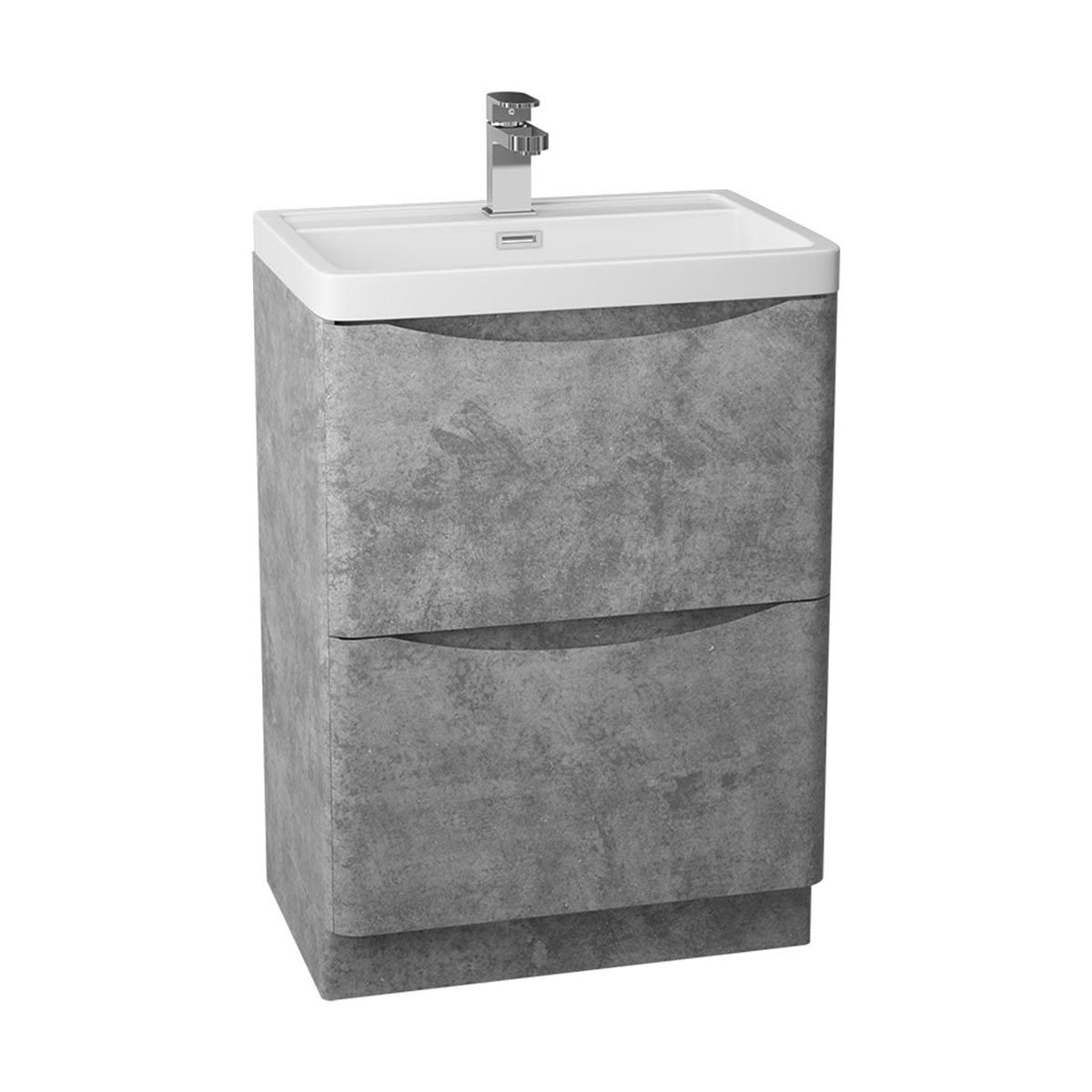 Bali Concrete Grey Floor Standing Vanity Unit with Ceramic Basin 600mm