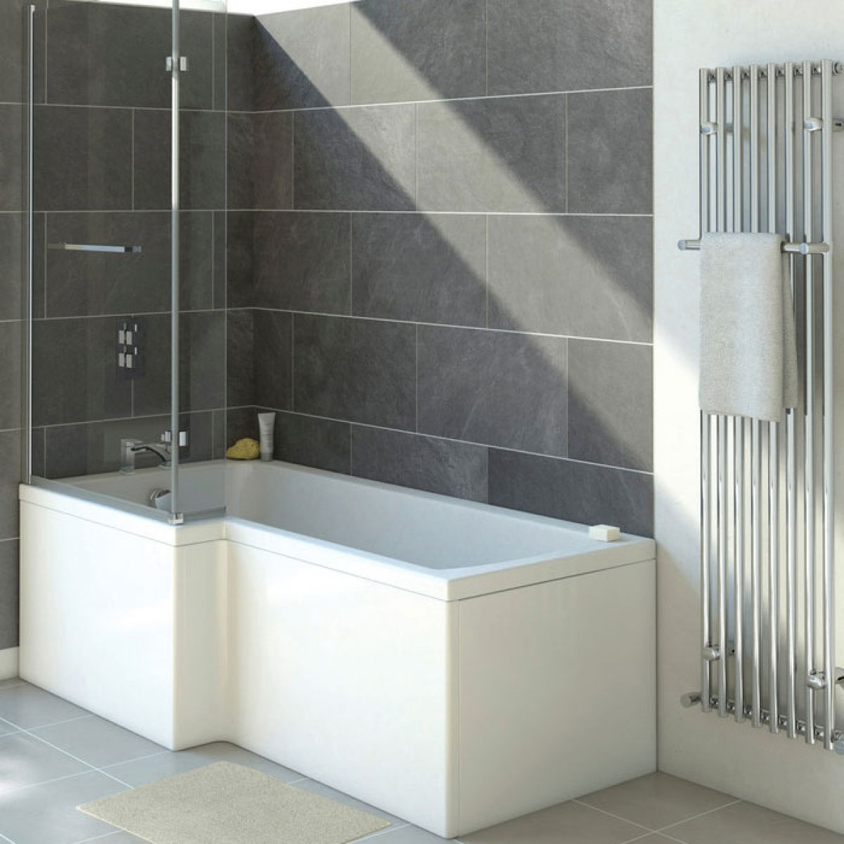 Moods Solarna Shower Bath End Panel 700 - 750mm