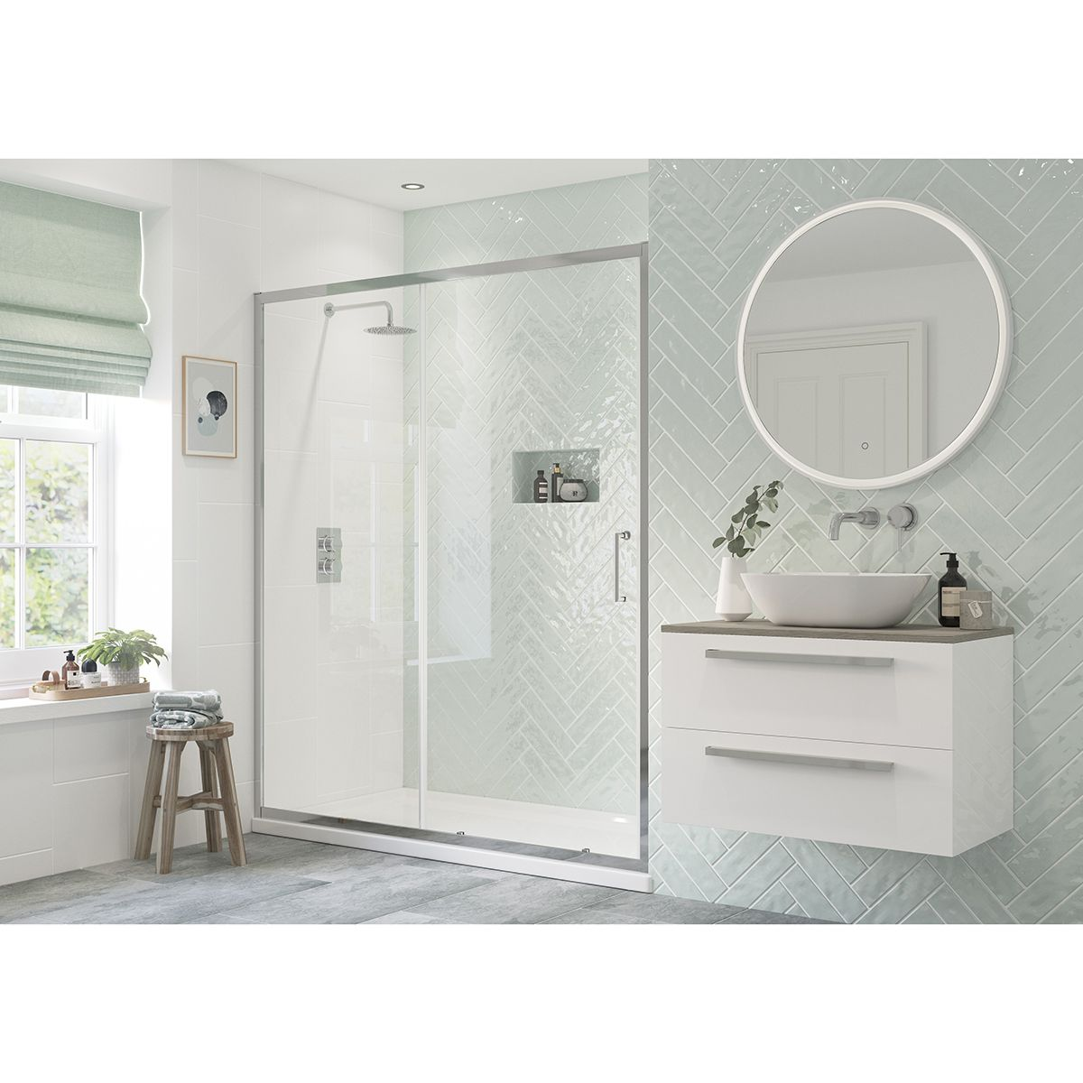 Bathrooms To Love RefleXion Flex Sliding Shower Door with Optional Side Panel