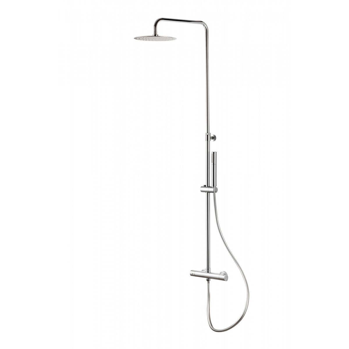 Bathrooms To Love Vema Chrome Round Bar Valve with Fixed Head and Riser Thermostatic