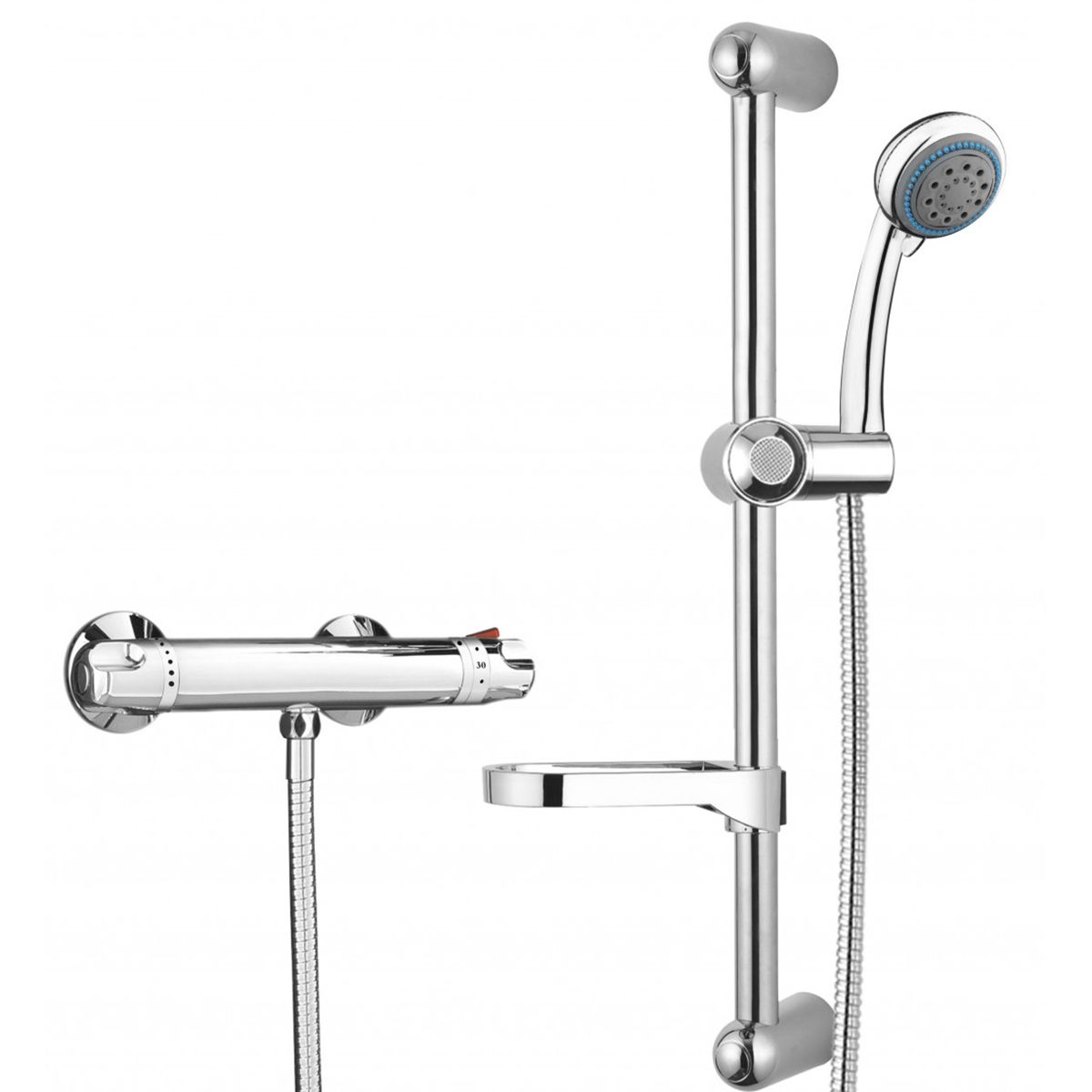Bathrooms To Love Vema Chrome Round Low Pressure Thermostatic Shower and Riser