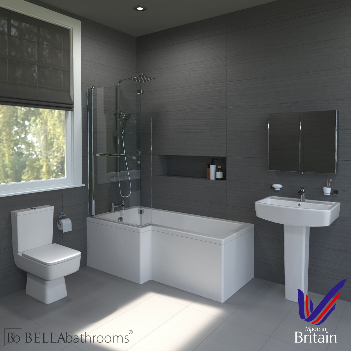 Bliss Left Handed L Shaped Shower Bath Suite