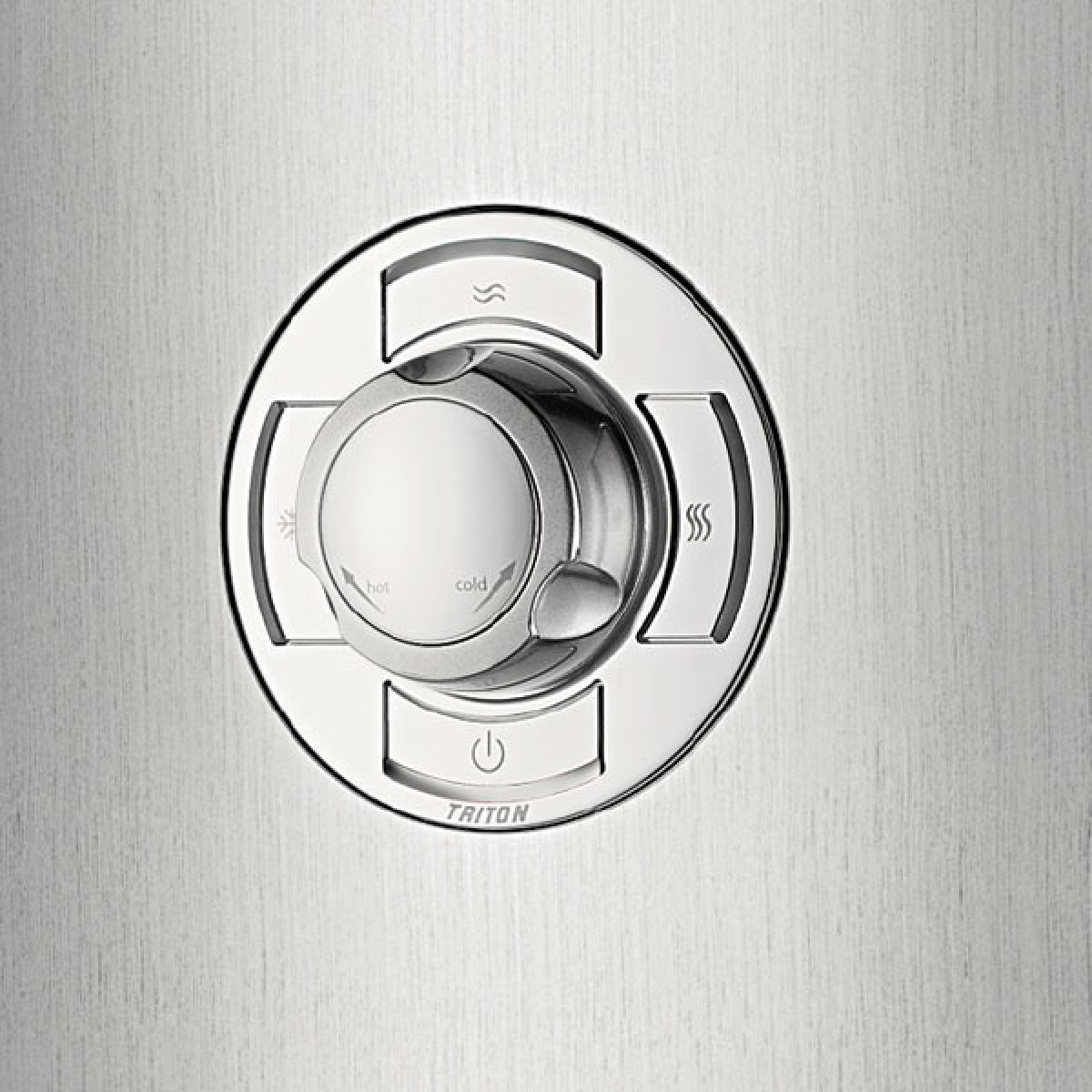 Triton Aspirante Brushed Steel Electric Shower Detail