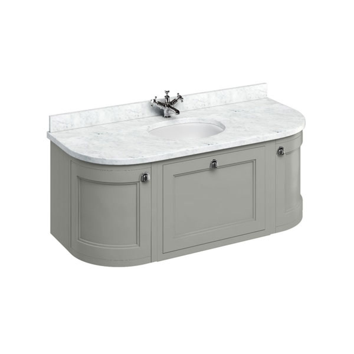 Burlington Dark Olive Wall Hung Curved Vanity Unit 1340mm (Carrara White)