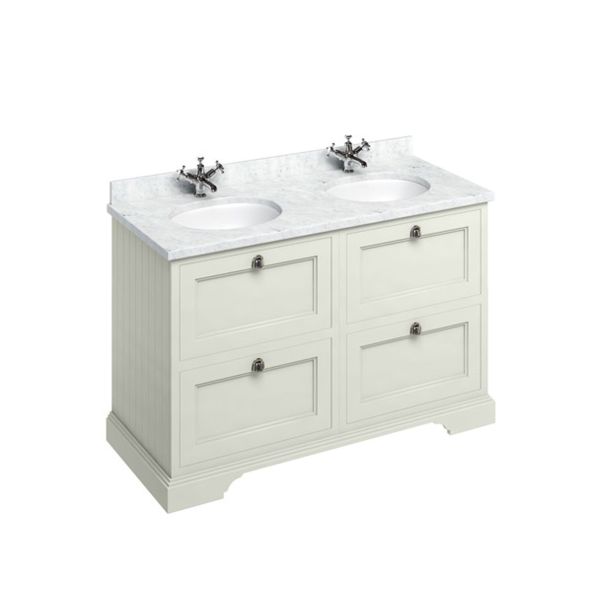 Burlington Sand Freestanding Vanity Unit 1300mm Carrara White