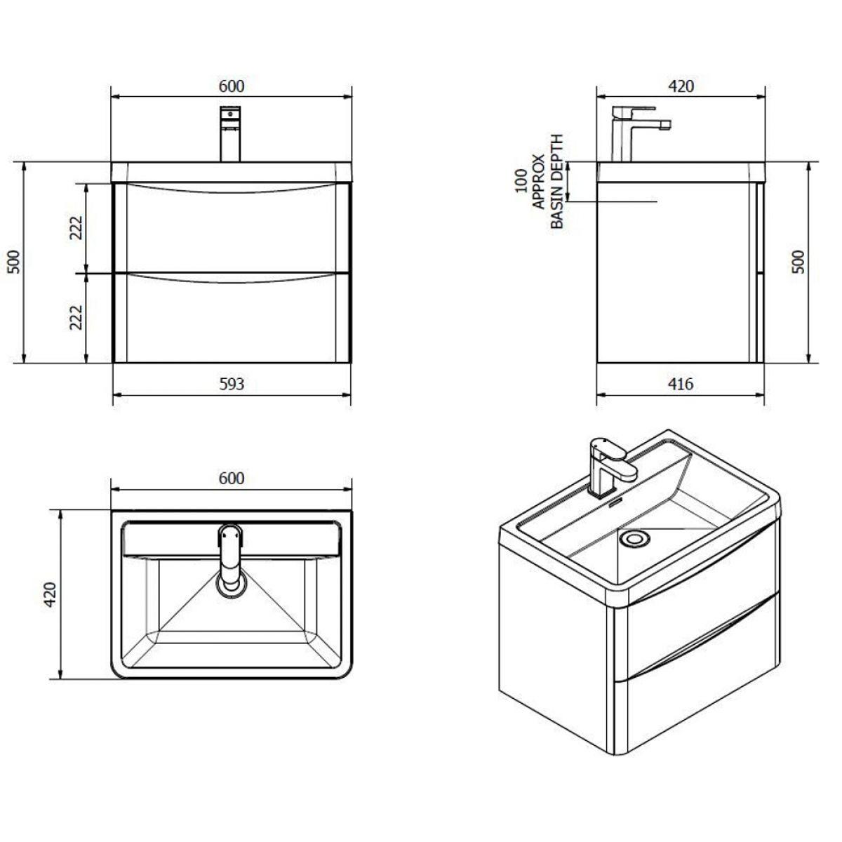 Bali Chestnut Floor Standing Vanity Unit 600mm Dimensions