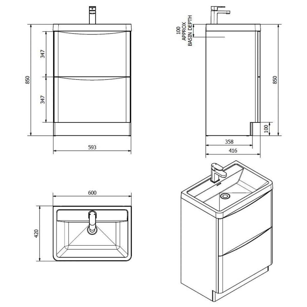 Bali White Ash Floor Standing Vanity Unit 600mm Dimensions