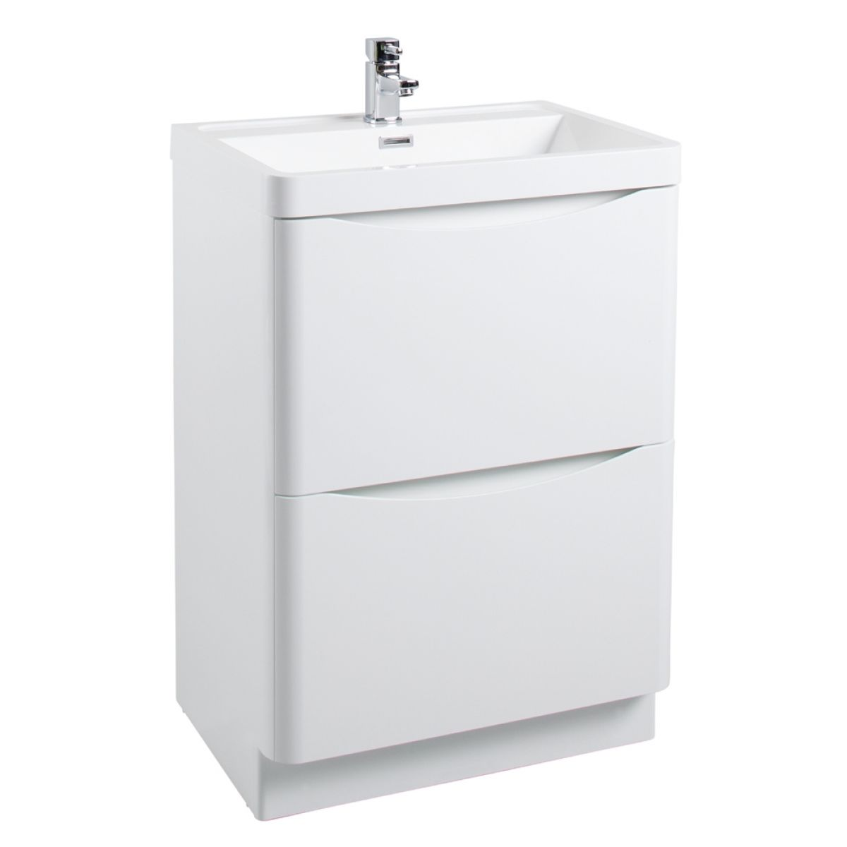 Bali Gloss White Floor Standing Vanity Unit 600mm