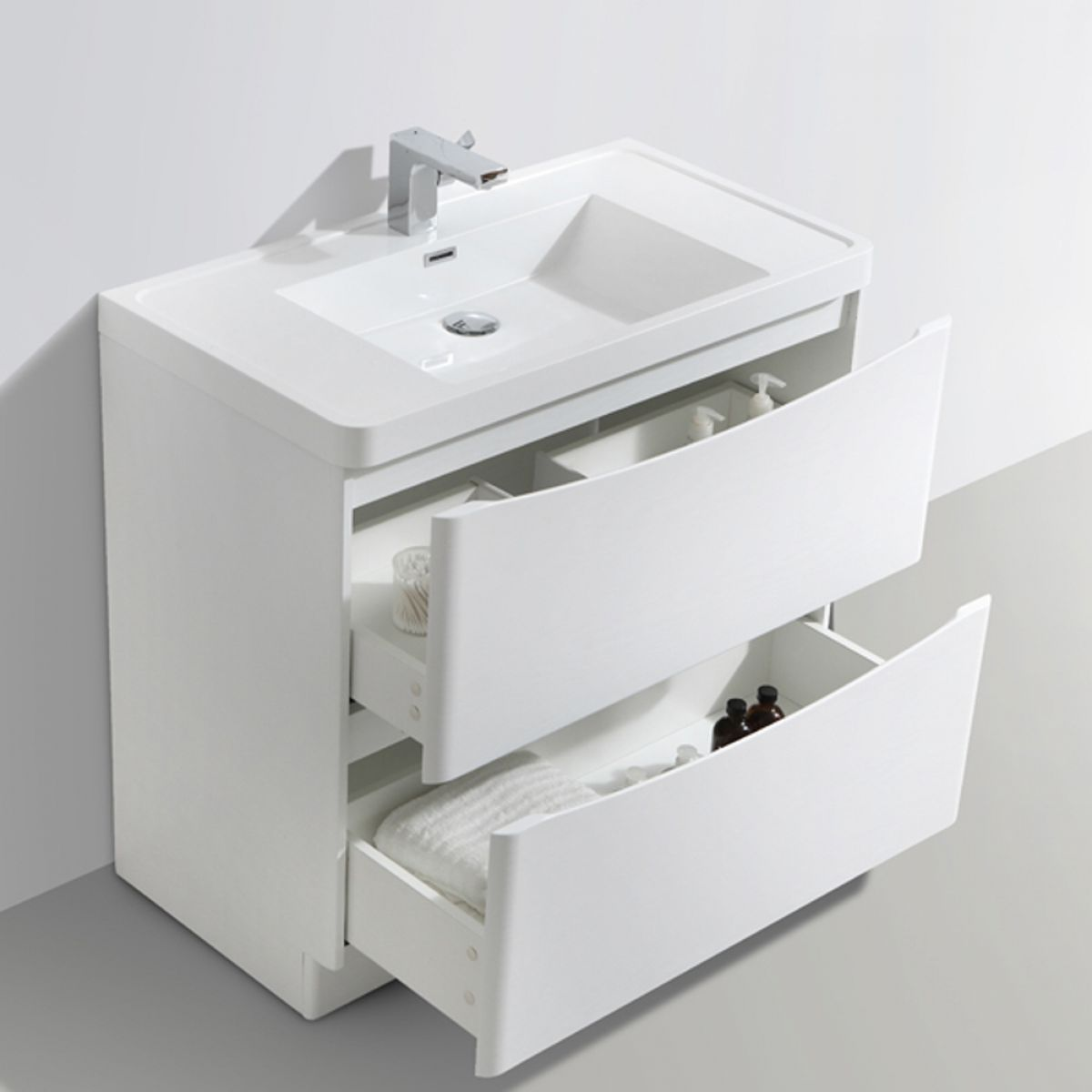 Bali Gloss White Vanity Unit 900mm
