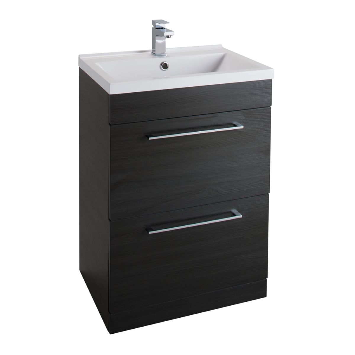Cassellie Idon Black 2 Drawer Vanity Unit with Basin 600mm