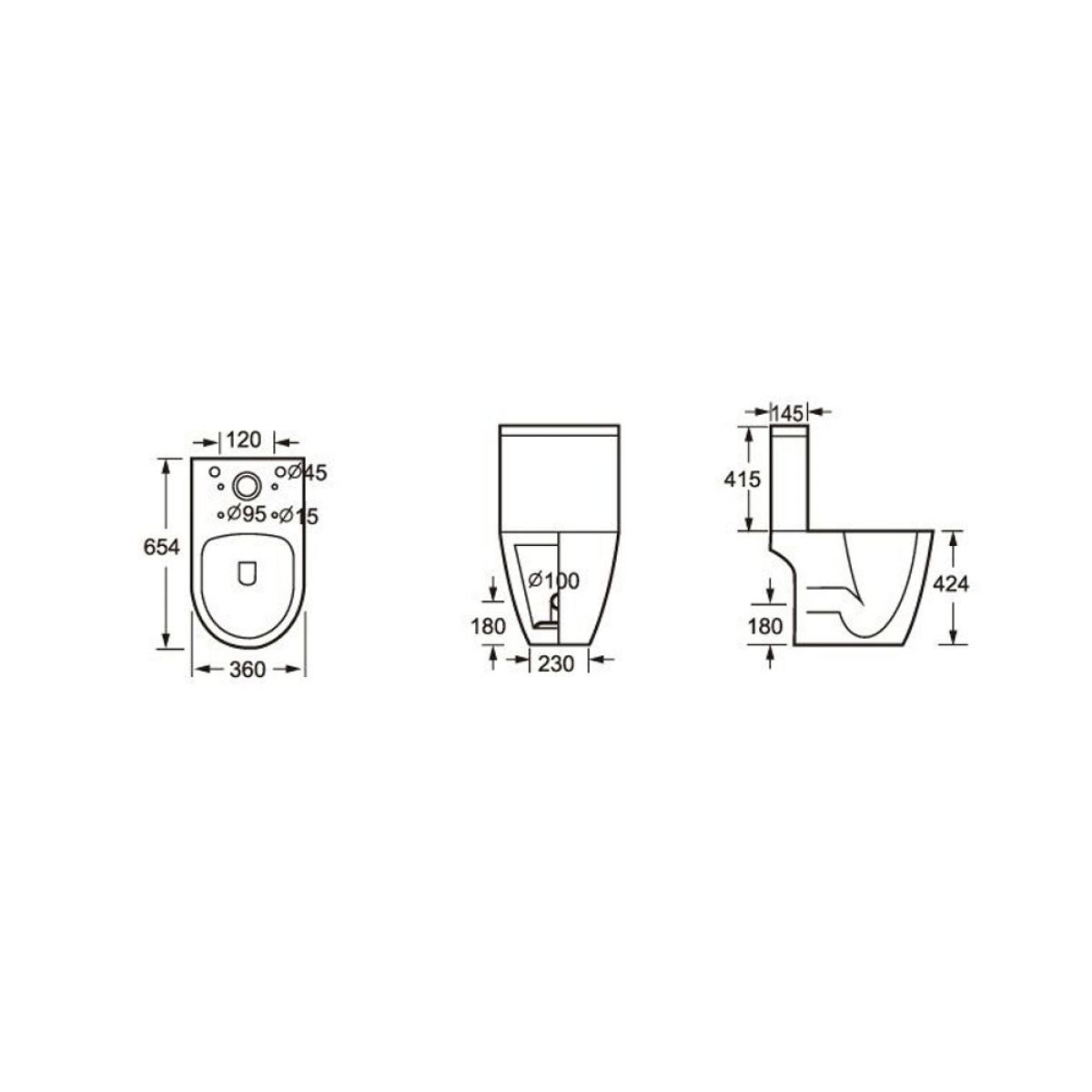 Cassellie Loxley Close Coupled Toilet with Wrapover Seat Drawing