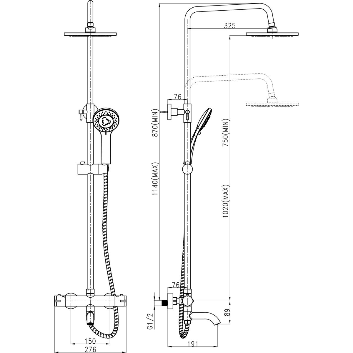 Cassellie Santana Thermostatic Bath Filler Shower Kit Dimensions