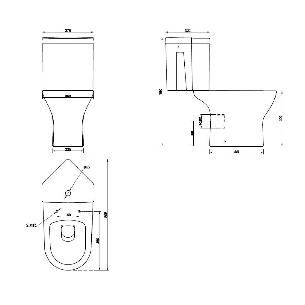 Cassellie Spek Corner Close Coupled Toilet Drawing