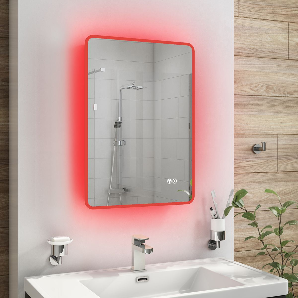 Cassellie Red LED Bluetooth Bathroom Mirror