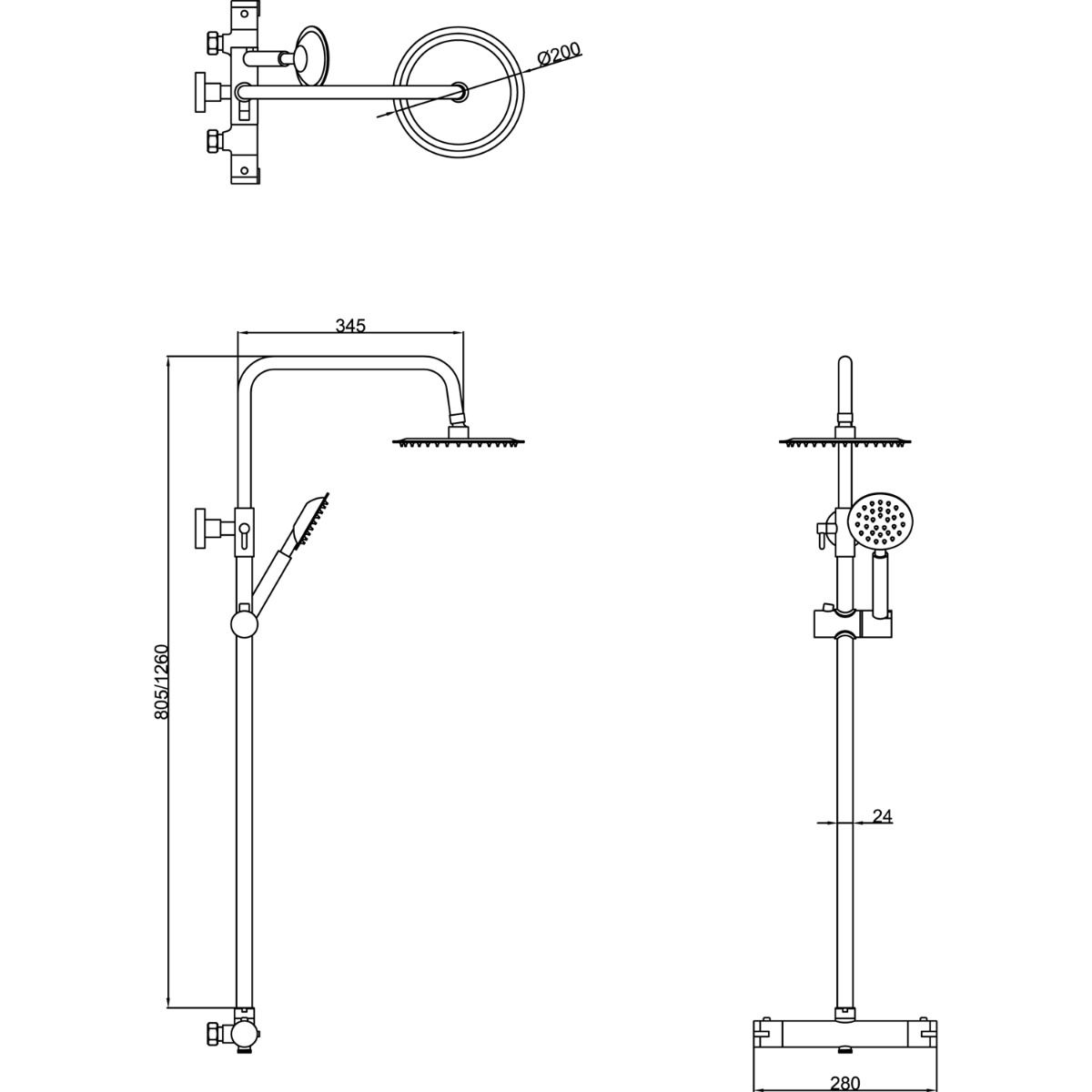 Cassellie Videira Thermostatic Shower Kit Dimensions