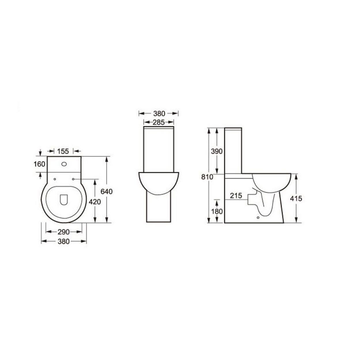Cassellie Wharfe Flush To Wall Toilet with Wrapover Seat Drawing