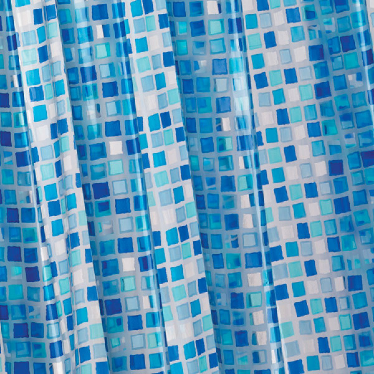 Croydex Blue Mosaic PVC Shower Curtain Detail