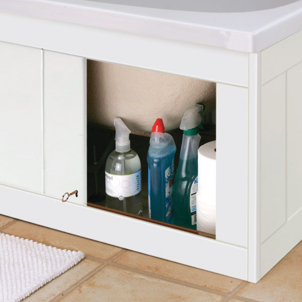 Croydex Unfold 'n' Fit Storage Gloss White Bath Panel 1700mm Detail
