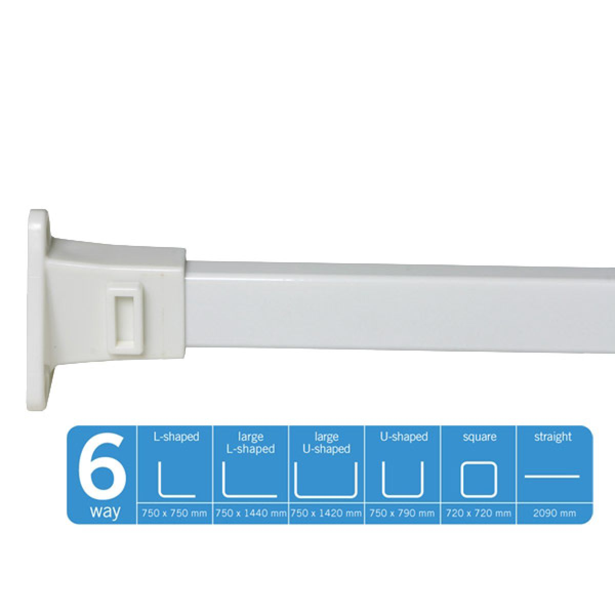 Croydex White Modular Shower Curtain Rail