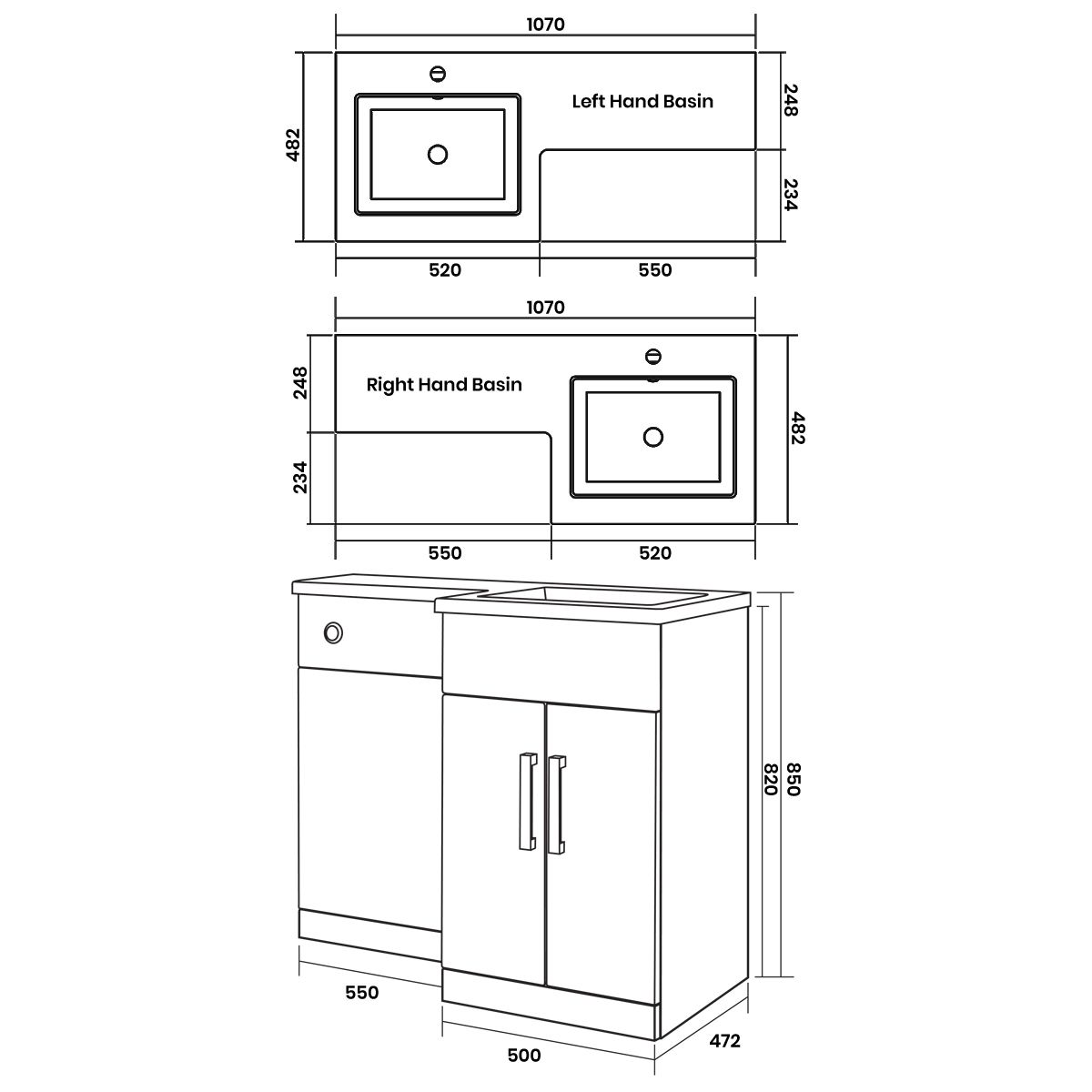 Elation Combination L Shape Indigo Matt Furniture Pack 1070mm Dimensions