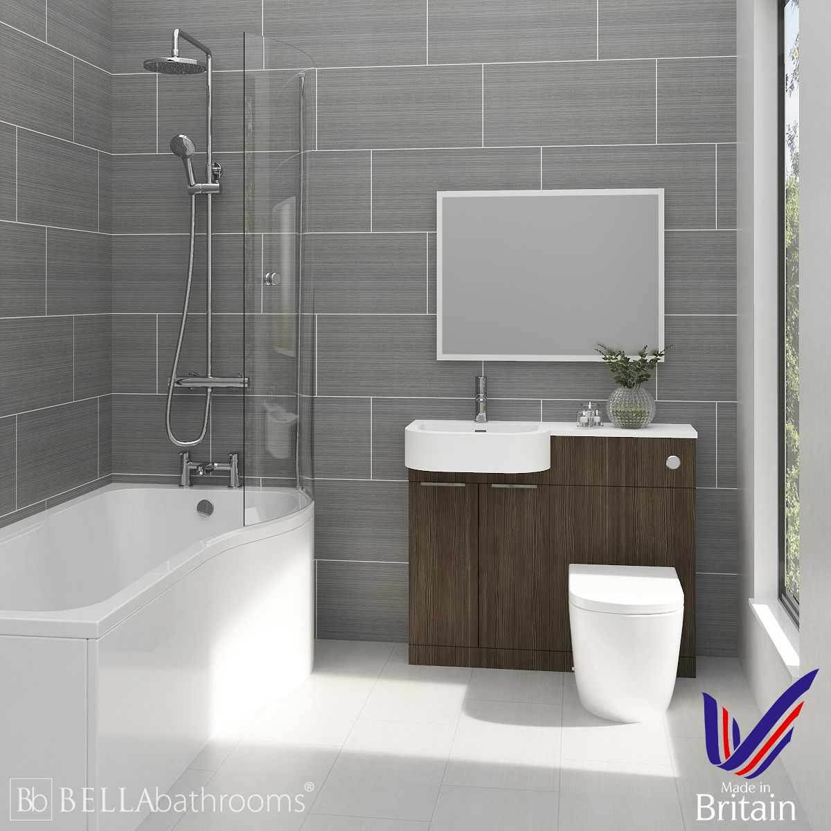 Elation Combination P Shape Bodega Grey Furniture Suite with Right Hand P Shape Shower Bath