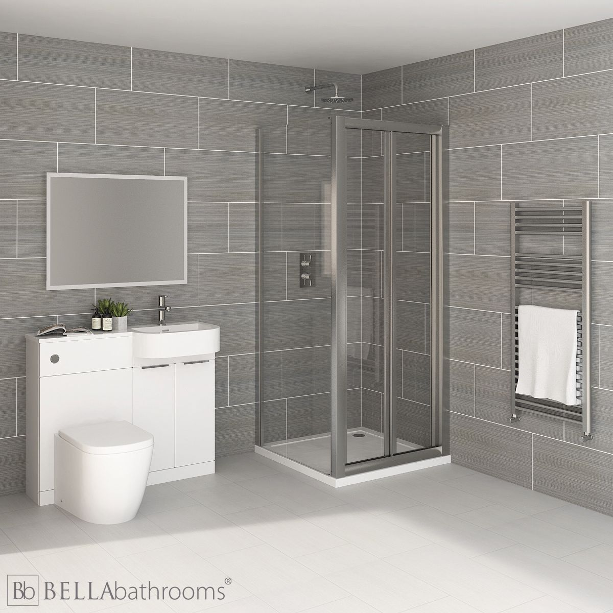 Elation Combination P Shape White Furniture Suite with April Destini Bi Fold Shower Enclosure