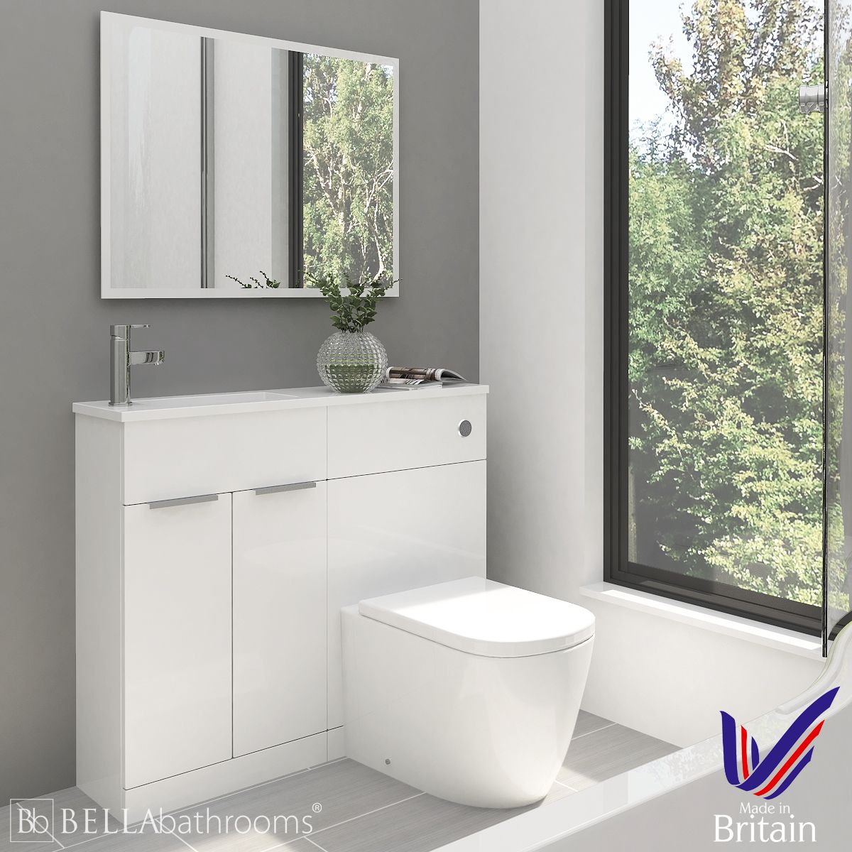 Elation Combination Straight White Furniture Pack 1000mm with Cayton Toilet