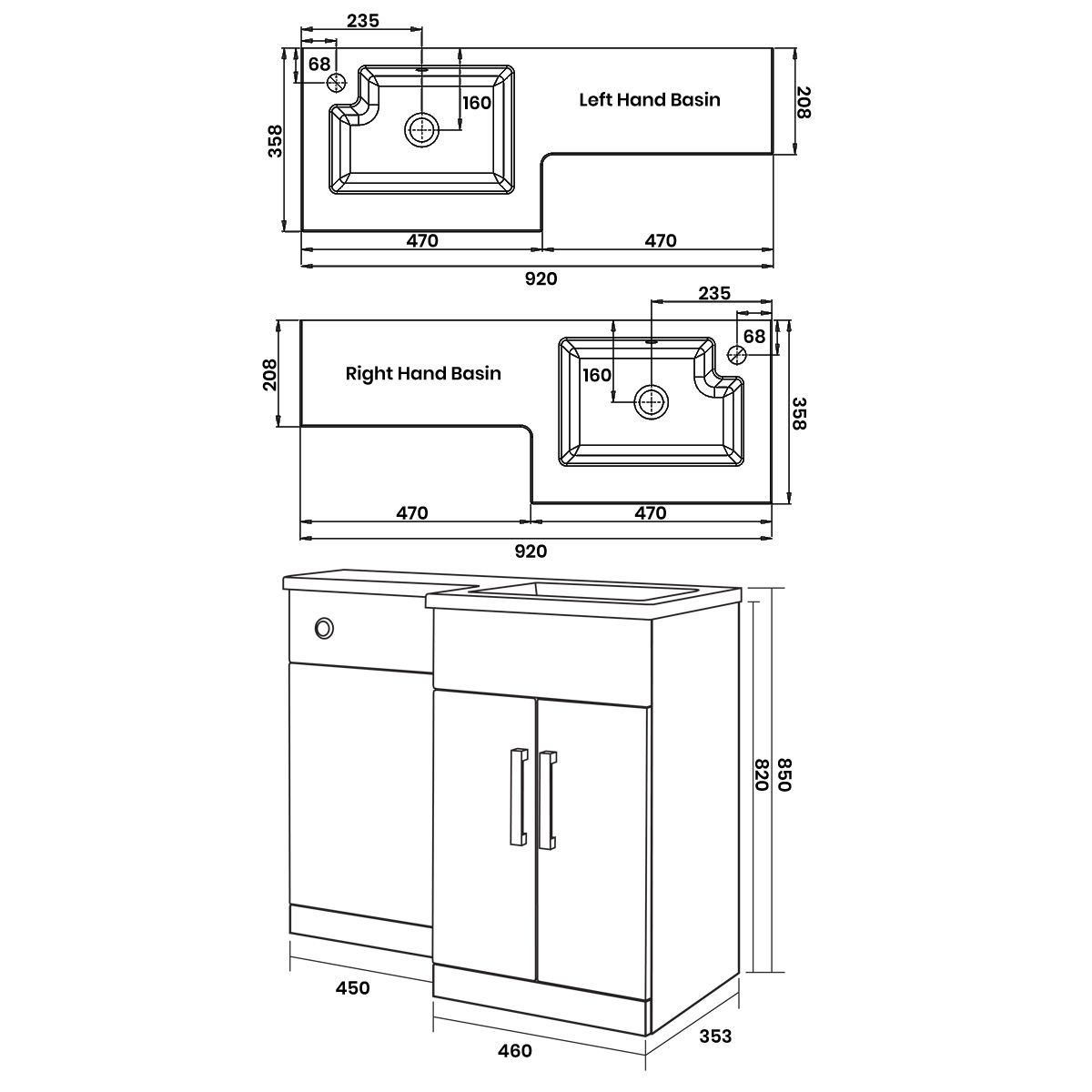 Elation Compact Combination L Shape Bodega Grey Furniture Pack 920mm Dimensions