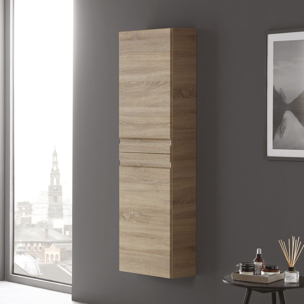 Elation Eko Bardolino Oak Tall Unit with Slab Door 1500mm