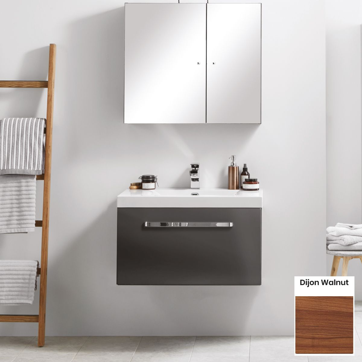 Elation Eko Dijon Walnut Vanity Unit with Slab Drawer 750mm